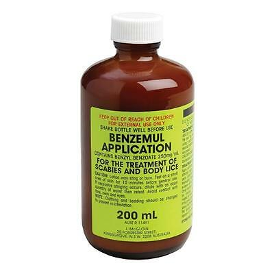 GENUINE Benzemul Application 200mL | Benzyl Benzoate Scabies Lice Treatment