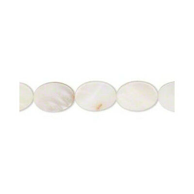 Strand of 25+ White Mother Of Pearl 10 x 15mm Flat Oval Beads YF0175