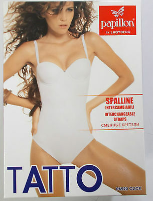 Body Intimo Donna Coppe Imbottite Push-Up Tatto Papillon Bianco Nero Nudo