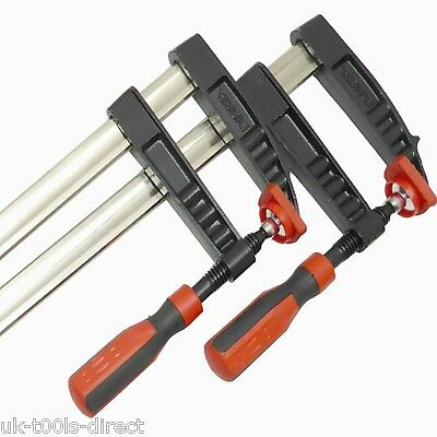 """F Clamps Bar Clamp Heavy Duty 600 x 80mm 24"""" Long Quick Clamp Slide Wood 2pc"""