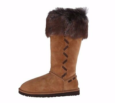 458f3c850cf UGG ROSANA $295 Women's Chestnut Brown Suede Waterproof Boots Shoes 1008044  NEW