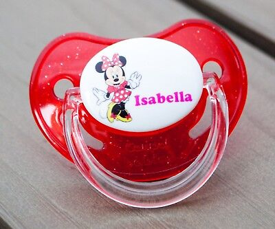 Personalised Dummy Pacifier Soother, All Teats, Sizes & Colours, Mouse Girl