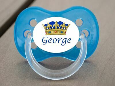 Personalised Dummy Pacifier Soother, All Teats, Sizes & Colours, Blue Crown 2