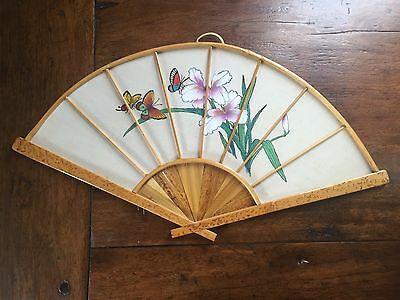 Vintage Floral/Butterflies Handpainted Wall Hanging  Fan Hand Painted