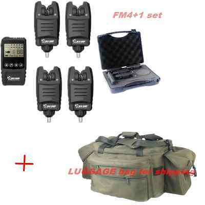 Wireless 4+1 Bite Alarm Set+Receiver with Display Screen + luggage bag for Carp