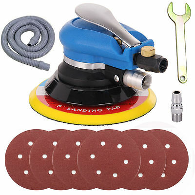 "6"" Air Random Orbital Orbit Palm Sander 150mm Dual Action Vacuum w/ 6 Sandpaper"