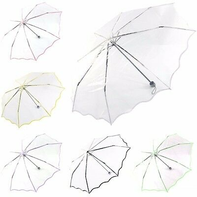 Ladies Compact Folding Umbrella Transparent Umbrella Clear Dome Rain Umbrella