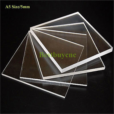5mm A5 Size Clear Plastic Acrylic Plexiglass Perspex Sheet, NEW!