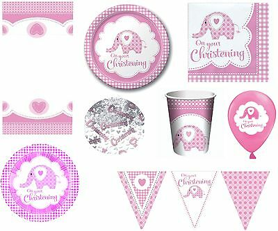 Girl Girls Christening Party Tableware Decorations Pink Elephant