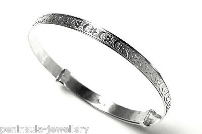 Sterling Silver Baby Christening Stars and Moon Bangle Gift boxed Made In UK