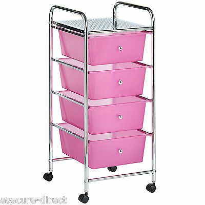 VonHaus Pink 4 Drawer Make Up Mobile Home Office Beauty Salon Storage Trolley