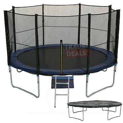 10Ft Trampoline With Free Ladder, Rain Cover, Shoe Bag, Safety Net/enclosure!