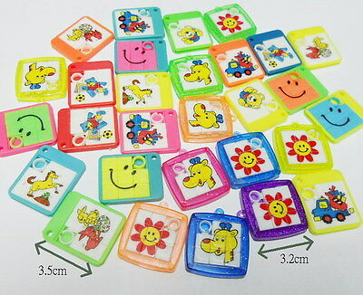 100 PCS bulk Mini Slider Puzzle Charms for Necklace Pinata Party Cake Decoration