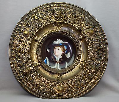 Antique Hand Painted Young Woman Portrait Plate Repousse Bronze Gothic Frame