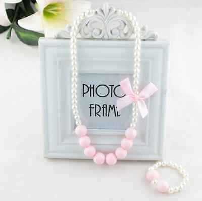 2016 Children's Jewelry fashion Gift Girls Imitation Pearls Necklace Bracelet