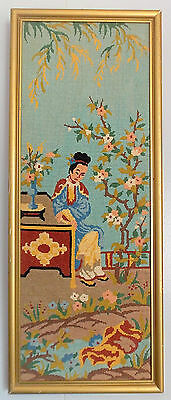 Vintage Signed Framed Needlepoint Tapestry Japanese/Chinese Picture, Tiny Detail