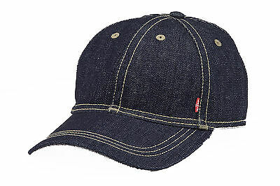 Levis Denim Baseball Cap Adjustable Strap At Back 219412 Red Tab - Blue Denim