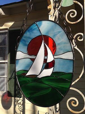 Sailboat in Sunset Stained Glass Window Panel Large Suncatcher 12x16
