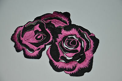 PINK BLACK ROSE BOUQUET  Embroidered Sew Iron On Cloth Patch APPLIQUE SEWING NEW