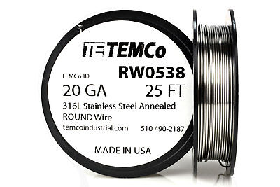 TEMCo Stainless Steel Wire SS 316L - 20 Gauge 25 FT Non-Resistance AWG ga