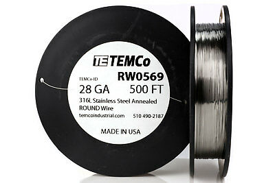 TEMCo Stainless Steel Wire SS 316L - 28 Gauge 500 FT Non-Resistance AWG ga