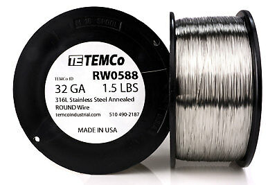 TEMCo Stainless Steel Wire SS 316L - 32 Gauge 1.5 lb Non-Resistance AWG ga