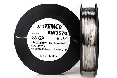 TEMCo Stainless Steel Wire SS 316L - 28 Gauge 8 oz Non-Resistance AWG ga