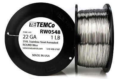 TEMCo Stainless Steel Wire SS 316L - 22 Gauge 1 lb Non-Resistance AWG ga
