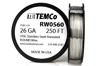 TEMCo Stainless Steel Wire SS 316L - 26 Gauge 250 FT Non-Resistance AWG ga
