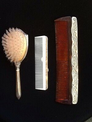 Vintage Silver Hair Set One Large And One Small Comb And One Brush Set Beautiful