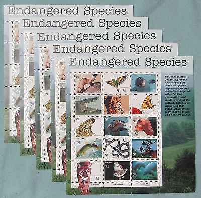 New 75 (5 Souvenir Sheets x 15) ENDANGERED SPECIES 32 ¢ US Postage Stamps # 3105