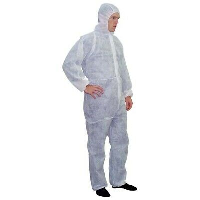 Disposable Coverall with Hood, Tyvek Spun Lace, Large, 40gsm, 50pcs per Carton