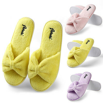 Women Bowknot Fleece Plush Spa Slippers Bedroom Indoor House Shoes Size 5.5-9