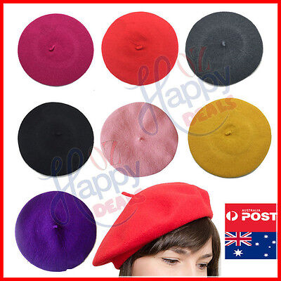 Women's Ladies Unisex Acrylic Wool French Beret Newsboy Hat Cap Winter Warm