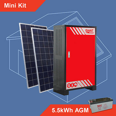 Off Grid Solar System - Mini Kit 5.5kWh AGM Batteries Stand Alone