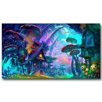 Psychedelic Trippy Mushroom Abstract Art Silk Poster Print 13x24 24x43inch