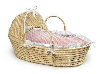 Natural Baby Infant Moses Basket w/Hood Pink Gingham NEW