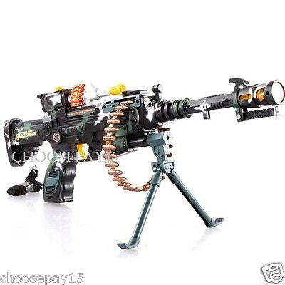 Kids Combat 3 Army Commando Machine Gun Pistol With Lights And Sounds Toy Gift