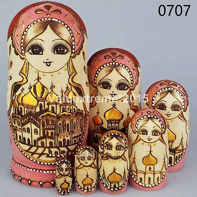 10pcs Hand Painted Russian Babushka Matryoshka Wooden Nesting Dolls Gift set Toy