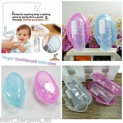 Baby Finger Soft Silicone Toothbrush Oral Teether Teeth Toddler Gum Massager Uk