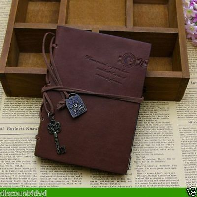 New Retro Vintage PU Leather Journal Stationery Diary - Dark Brown Cover UK Gift