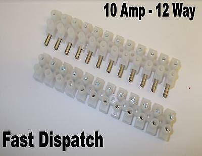 2 x 10AMP 12 WAY PLUG IN STRIP TERMINAL CONNECT ELECTRICAL CABLE WIRING