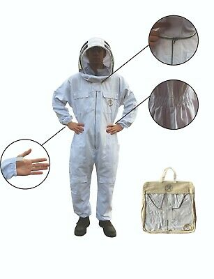 White Apiary Additions Beekeeping Bee Suit with Fencing Veil - All Sizes