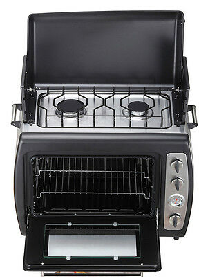 Acclaim Outdoor Garden & Camping Portable BBQ Cooker Twin Hob Stove & Shelf Oven