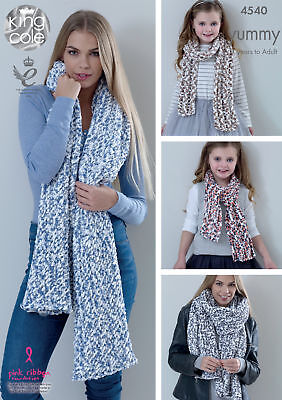 King Cole Knitting Pattern Ladies Lace or Mesh Shawls & Girls Scarves Yummy 4540