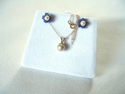 "SET- Pearl Solitaire & Blue Chalcedony ""Flowers"" 10/14k Gold Necklace & Earrings"