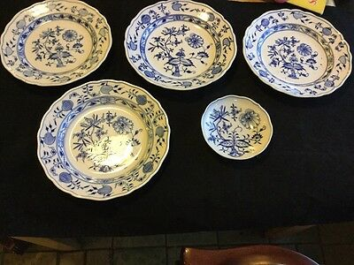 "Meissen Blue Onion Four 9-3/4"" Plates & One 5-1/2"" Bowl/ Plate Different Marking"