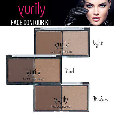 Yurily Face Contour Kit & Highlighter Pressed Powder Kit Light / Medium / Dark