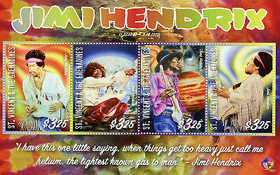 St Vincent & Grenadines 2016 MNH Jimi Hendrix 4v MS Rock Star Celebrities Stamps