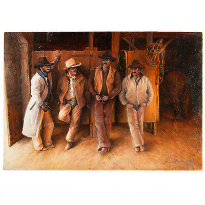 """""""Shooting the Breeze"""" By Anthony Sidoni 2005 Signed Oil Painting 16""""x23"""""""